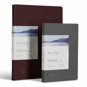Minbøk Refillable Notebook Large Grey Xl Burgundy